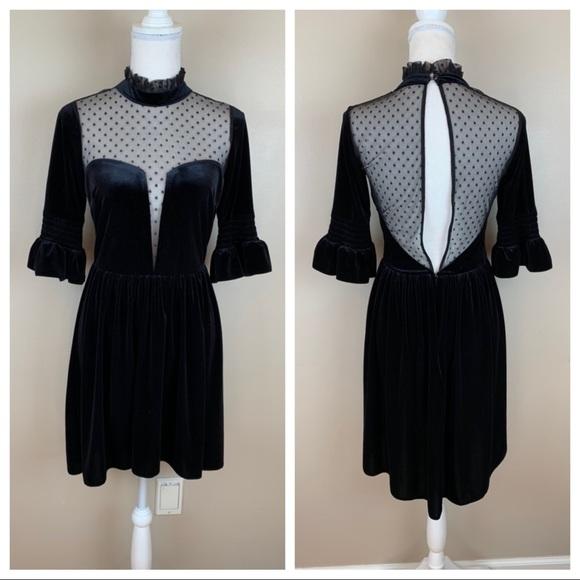 ASOS Dresses & Skirts - ASOS Black Lace Donny Mini Skater Dress. Size 6.